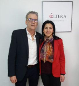 La escritora Nieves Michavila y el editor Luis Folgado. Editorial Áltera